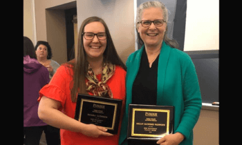 Keara Ludiker and Shelley MacDermid Wadsworth receiving the Purdue HHS engagement award