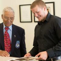 MFRI student intern greets Tuskegee Airman