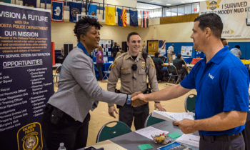 veteran at career fair
