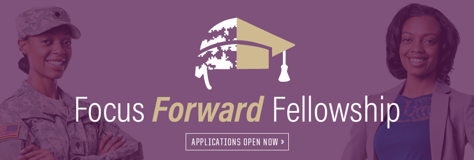 Half military helmet, half graduation cap Focus Forward Fellowship Applications open now