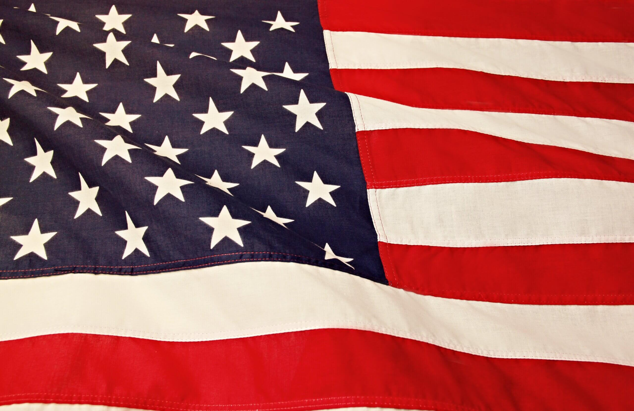 Closely cropped image of United States of America flag
