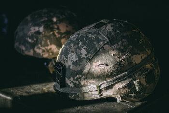 Camouflage kevlar helmet