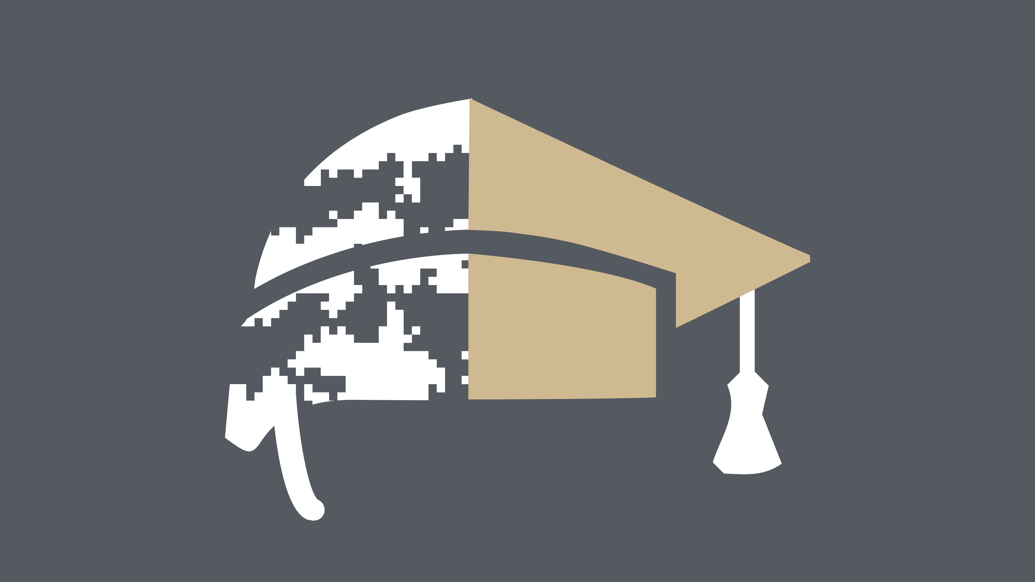 Focus Forward Fellowship icon: Half of a white military camouflage helmet, half of a gold graduation cap with a white tassel